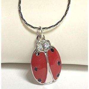 "Jewelry - Silver Ladybug Necklace Crystal 18"" Red Enamel"